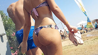 shower hot bikini hidden cam beach voyeur